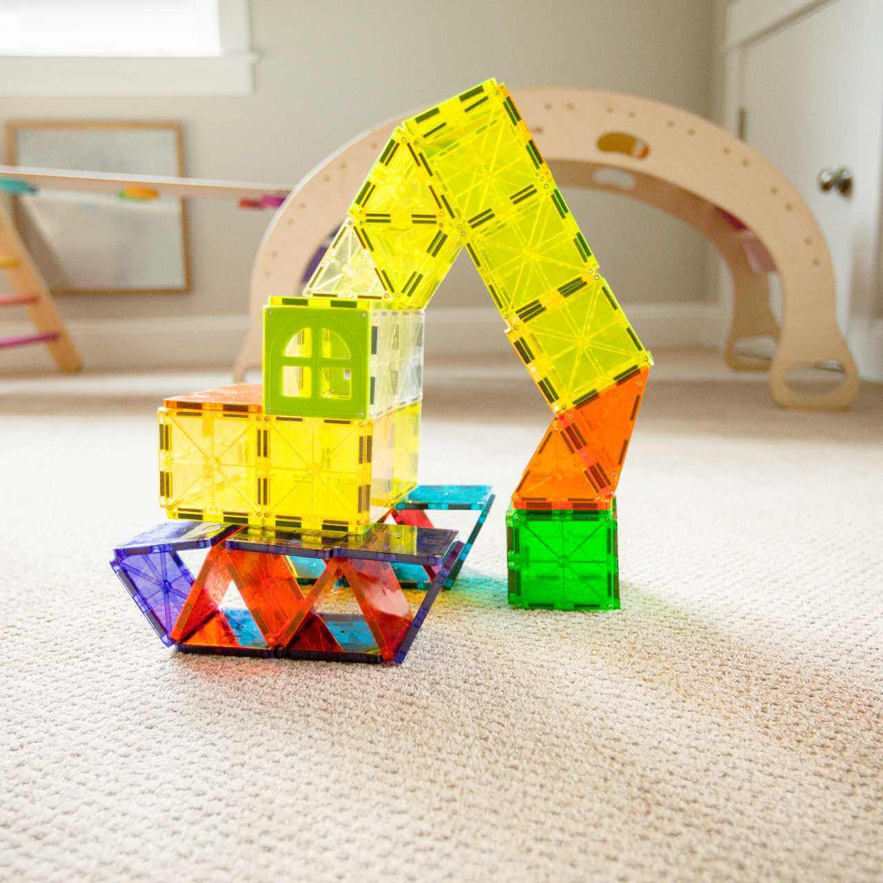 A construction crane built with Magna-Tiles